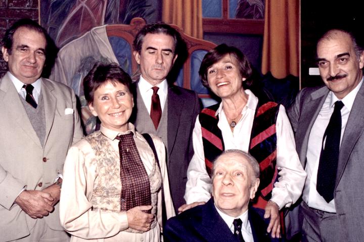 Fernando Duelo Cavero, María Esther de Miguel, Eduardo Gudiño Kieffer, María Esther Vázquez, Jorge Luis Borges y Roberto Castiglioni
